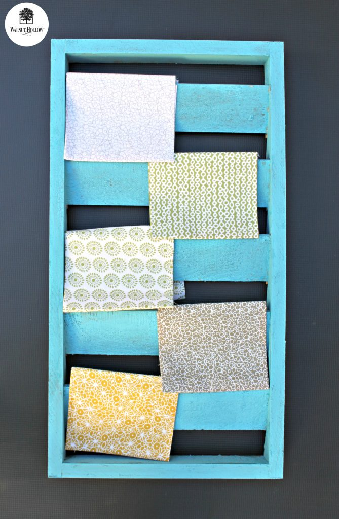 Turn Walnut Hollow wood shutters into rustic fabric organization!