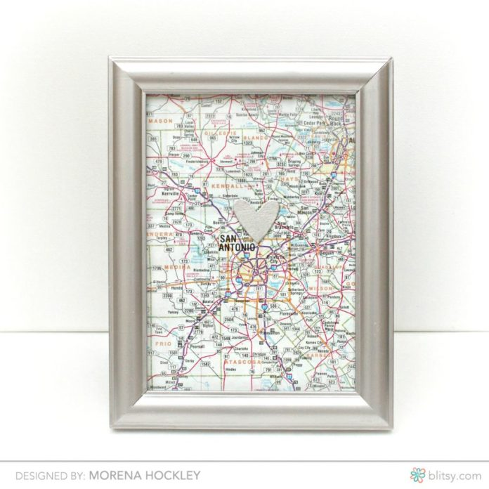 Turn a map into a lovely piece of home decor.