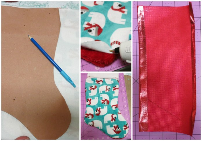 "Make last minute Christmas stockings quickly and easily! I ""cheated"" and saved time by using Cuddle fabric and my trusty glue gun!"