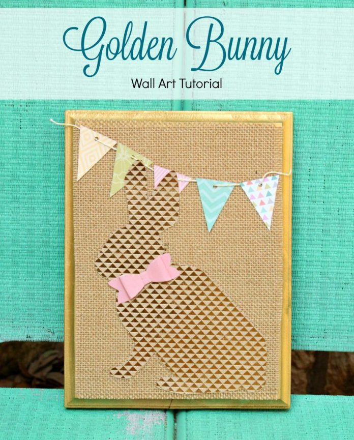 Make your own Golden Bunny spring wall art.