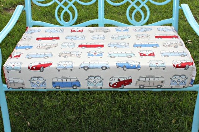Use VW bus fabric to give an old bench new life!