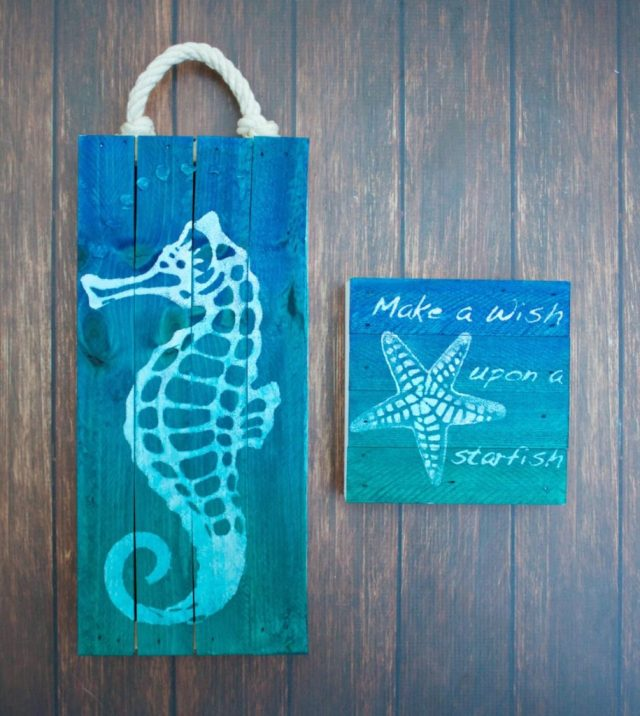 I'm going to show how to use homemade stencils to paint your own art in this coastal wall art tutorial.