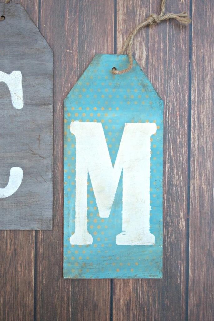 monogram wood tags