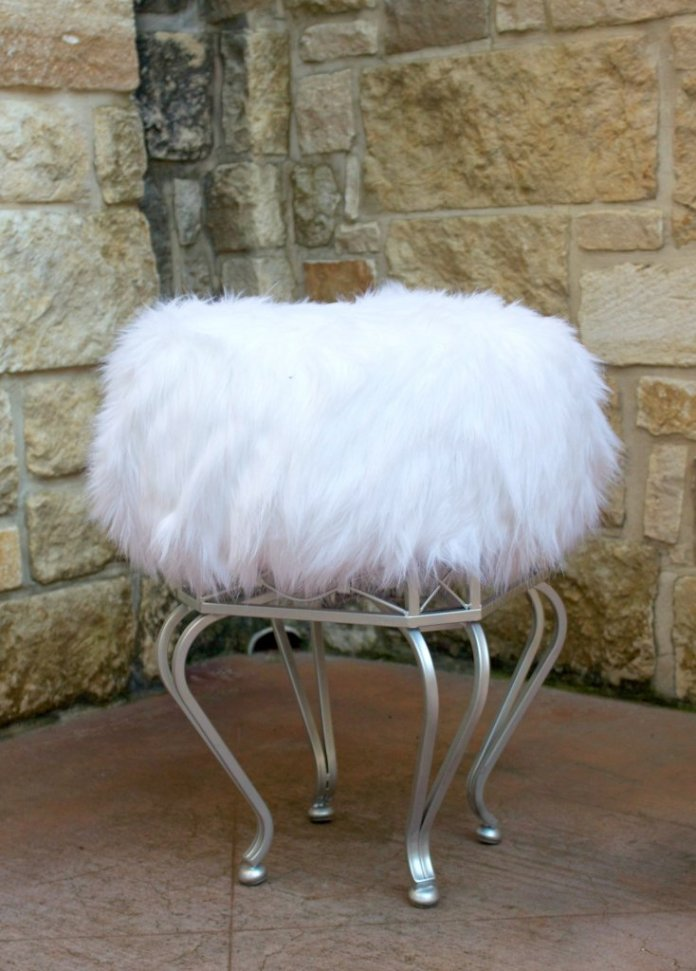 Make a furry ottoman DIY quickly and inexpensively by using a Goodwill stool and a tuffet kit from Fairfield World.