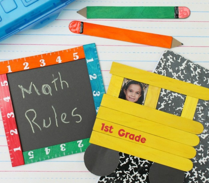 Make a school bus, ruler frame, apple, and pencils by using Sticky Sticks to create back to school crafts.