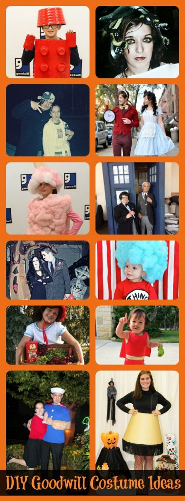 Over 20 ideas for DIY costumes that you can make with thrifted items from Goodwill stores. Create your Halloween look for less!