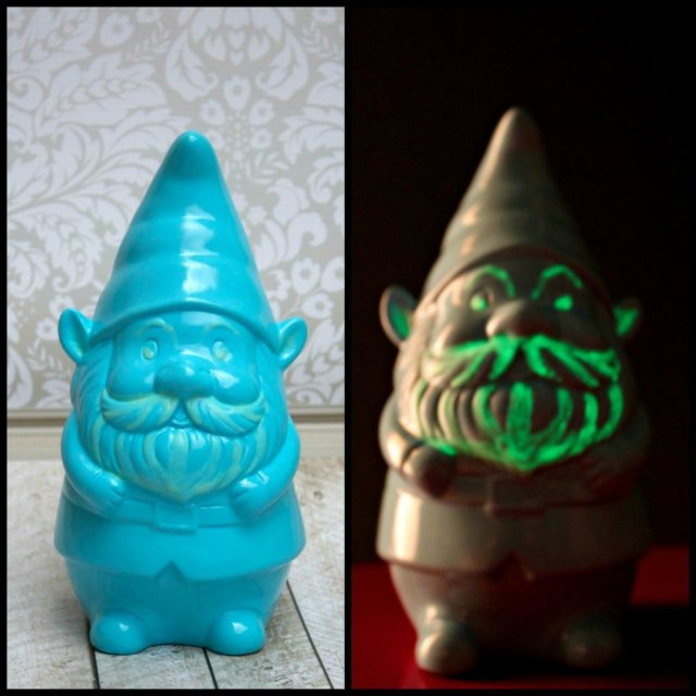 Turn an innocent piece of lawn decor into a frightening night time creature by simply applying glow in the dark paint in the right places!