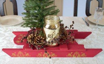 christmas sleigh centerpiece DIY