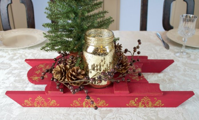 christmas sleigh centerpiece DIY