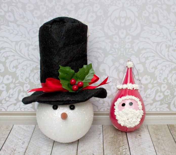 how to make santa and snowman ornaments