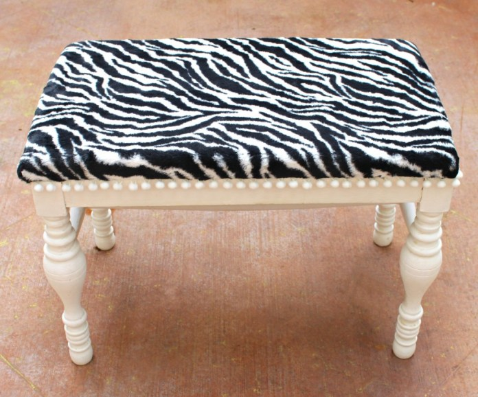 Turn a thrifted $5 bench into a conversation piece! Use Tru-Foam and chic fabric to quickly and easily update old furniture.