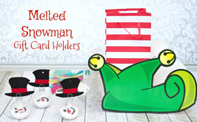 To add a little homemade touch to Christmas gift card giving for the holidays, I made an adorable melted snowman gift card holder!