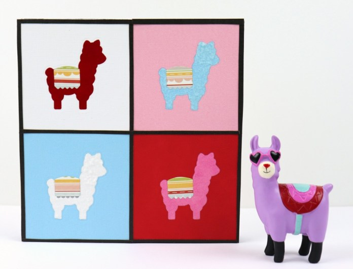 Make llama pop art to decorate your walls with. Use die cuts and Xyron's Creative Station to quickly make this colorful home decor.