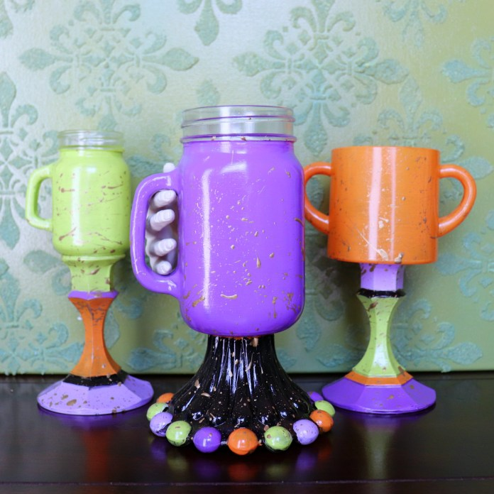 Halloween Goblets DIY: Painted Glass Partyware