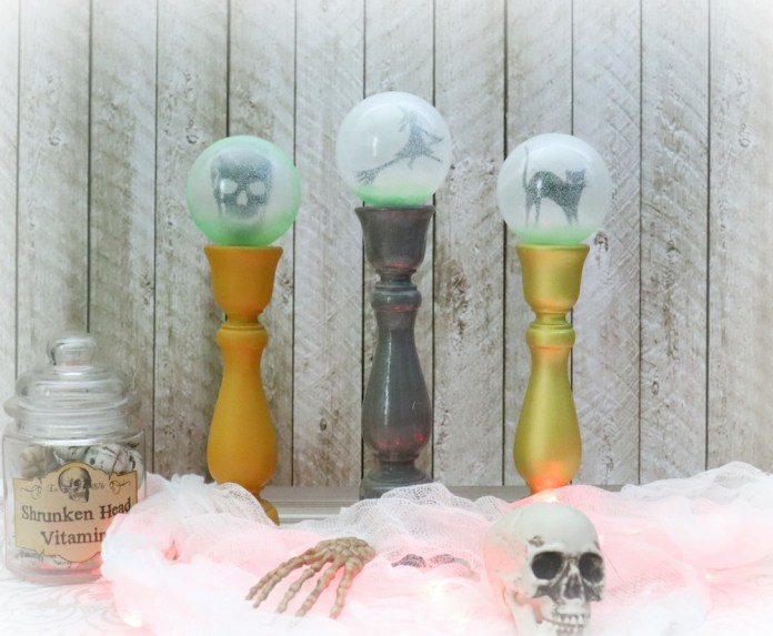 Make this crystal ball DIY decor for not too spooky Halloween decorating.
