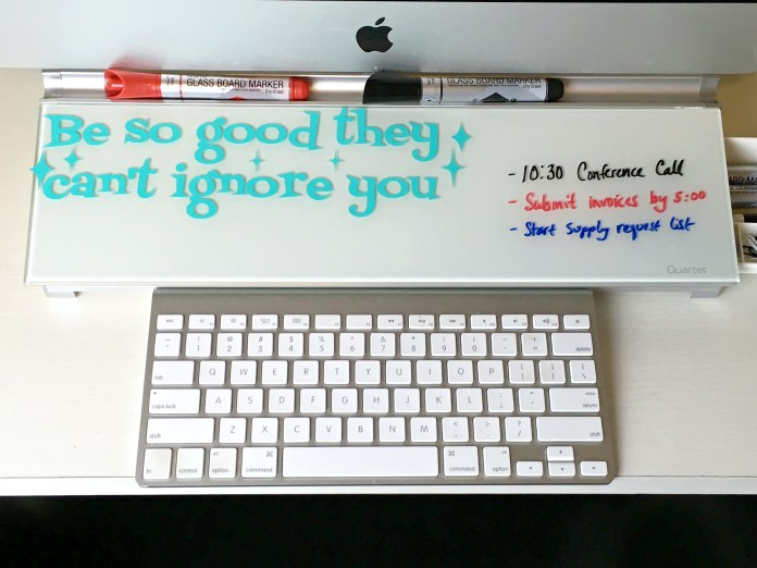 Use this motivational quote free SVG cut file to spruce up your office space.