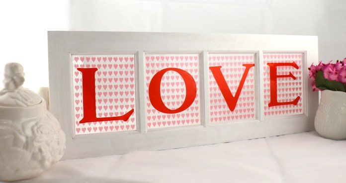 LOVE Window Sign Decor DIY for Valentine's Day
