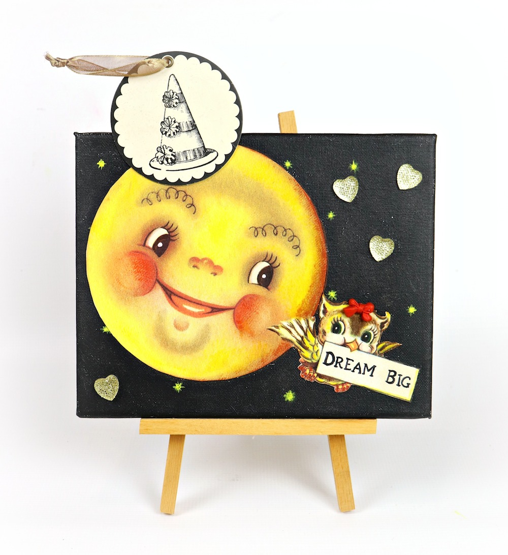 Make a mixed media owl and moon wall art to encourage little ones to