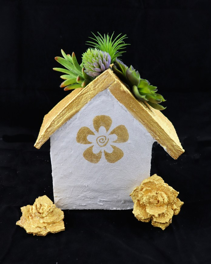 faux cement bird house