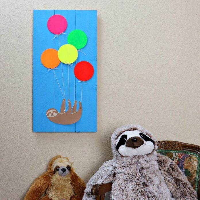 Sloth Wall Art DIY Decor flying away with balloons