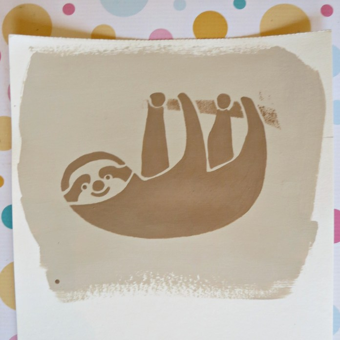 stenciled sloth art