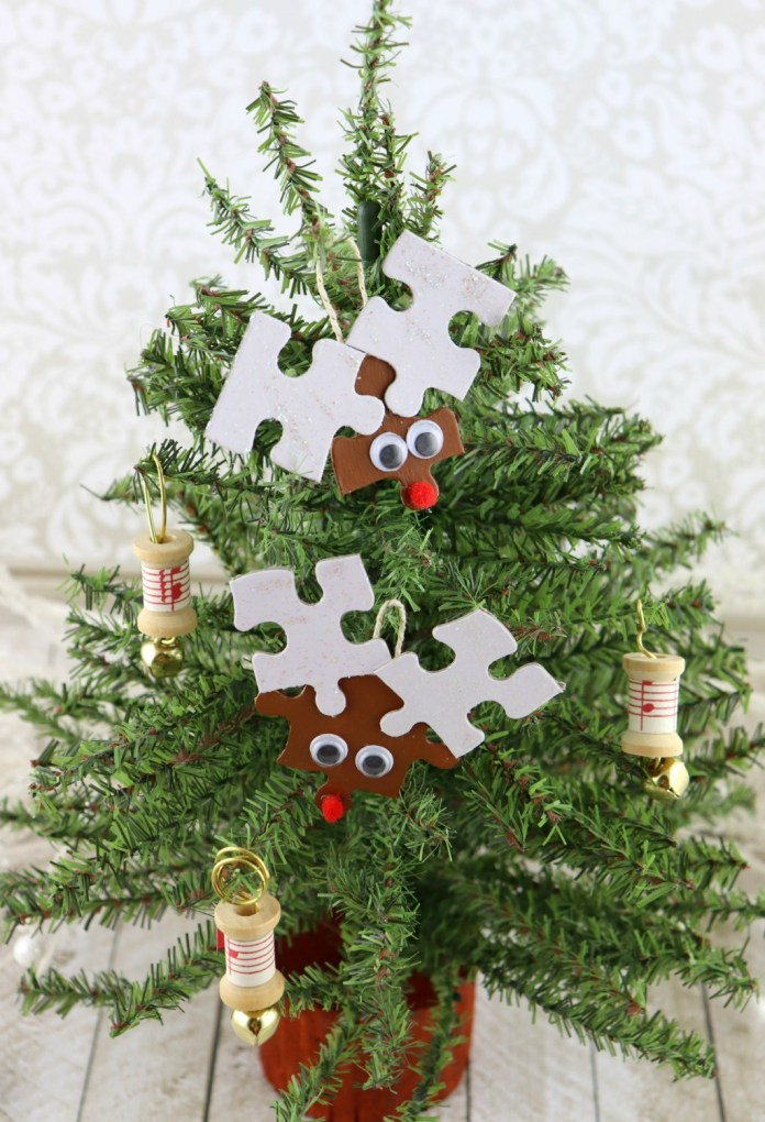 Reindeer Puzzle Ornaments Tutorial