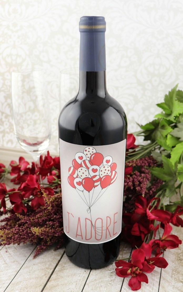 J'Adore Printable Valentine Wine Label
