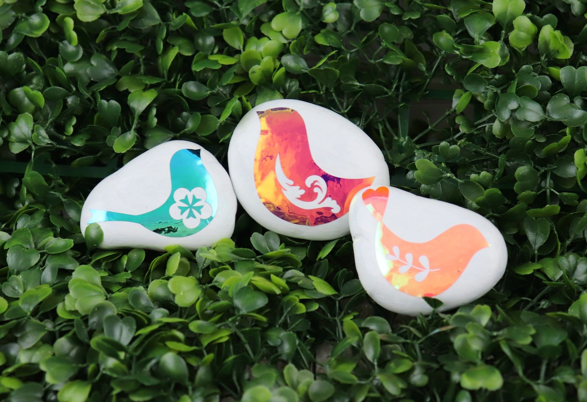 rocks decorated with vinyl