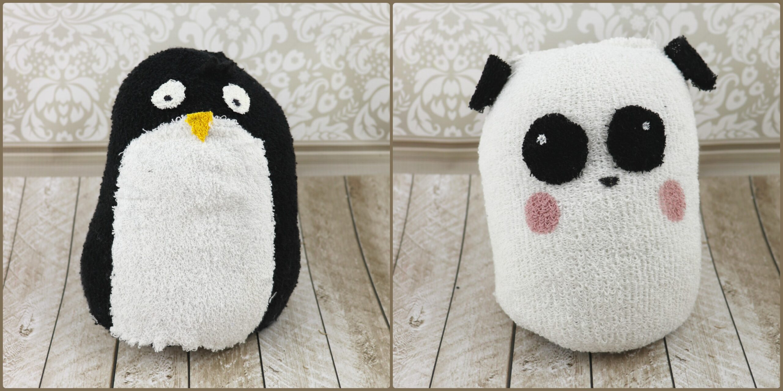 Reversible sock plush tutorial penguin and panda