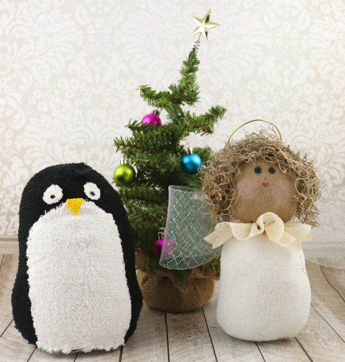 Sock plush angel and reversible sock penguin