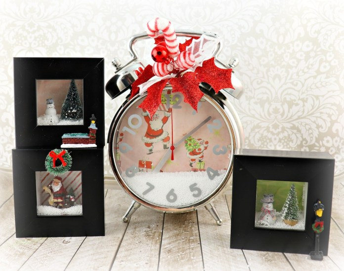 snow globe inspired shadow box decor