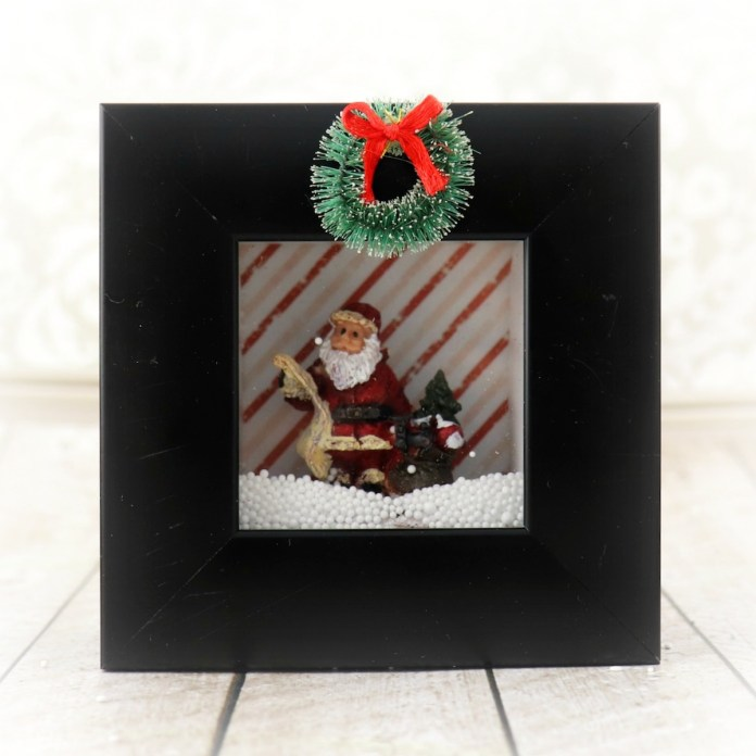 christmas shadow box with snow
