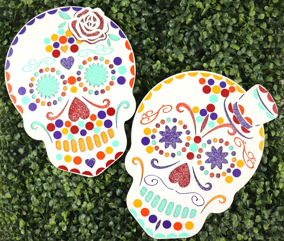 sugar skull decorated with vinyl