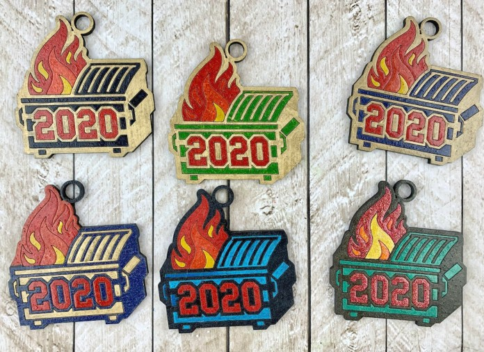 dumpster fire ornaments for Christmas 2020
