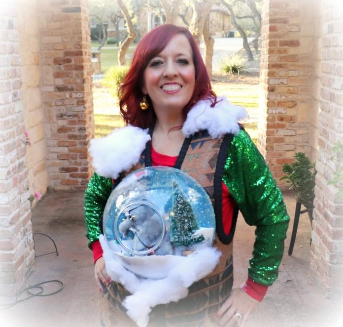 Christmas snow globe ugly sweater tutorial
