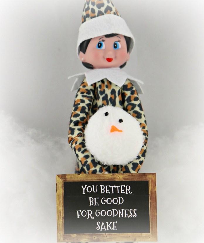 elf on shelf with snowman head