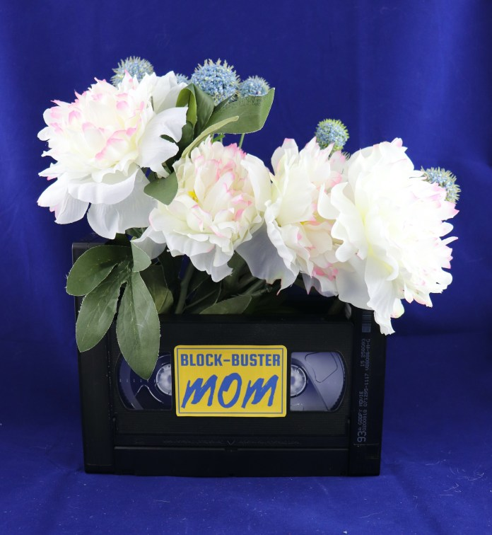 flower basket made with VHS case