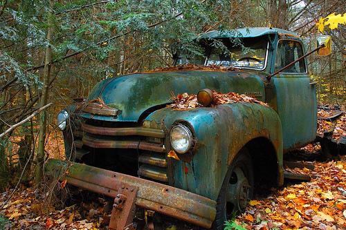 green wrecked truck
