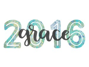 The word grace written in black calligraphy over a blue 2016