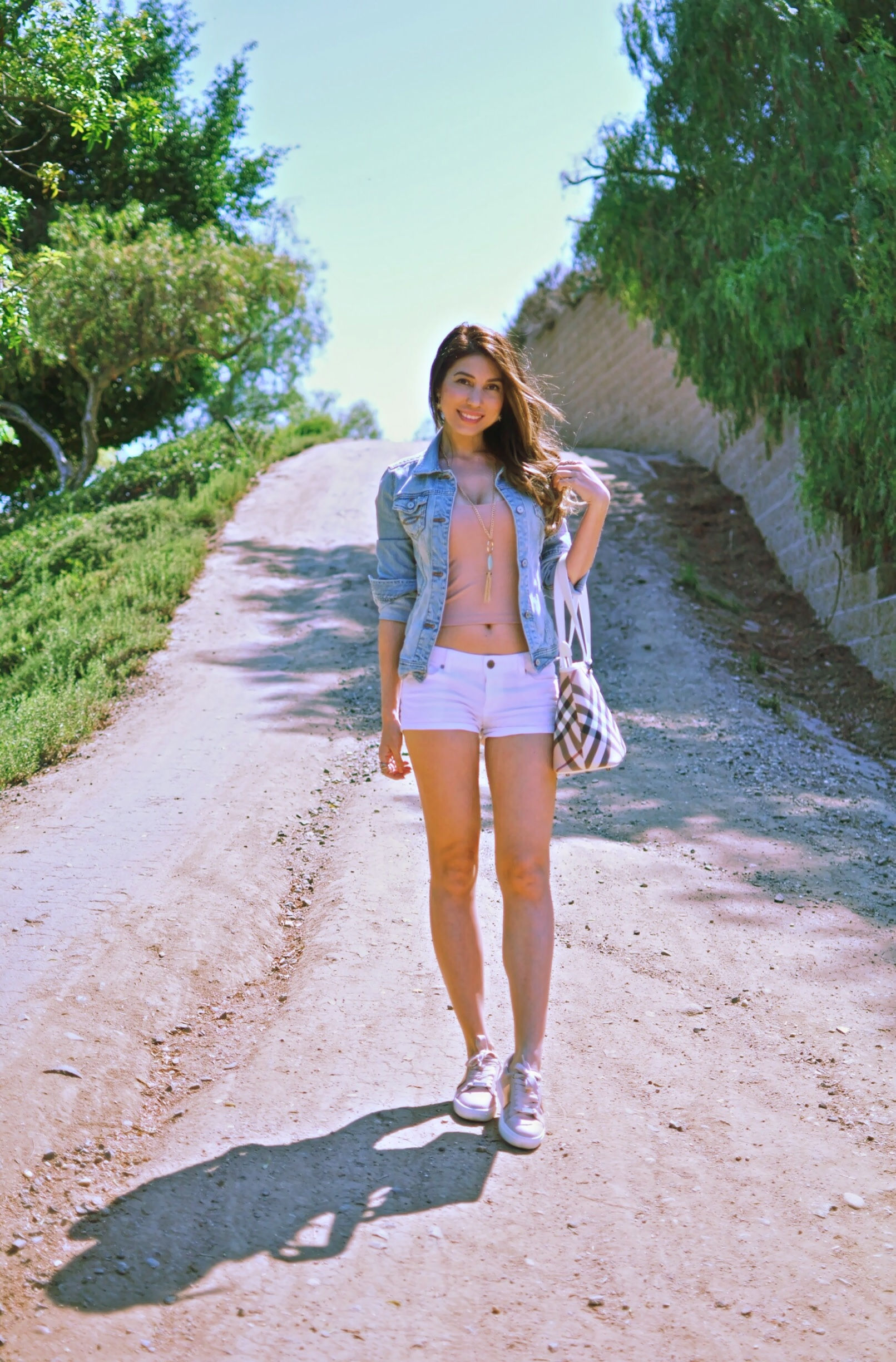 blush sneakers outfit