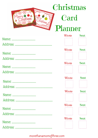 image about Mom Planner Printable referred to as Freebie Xmas Card Planner Printable - Far more Than A Mother