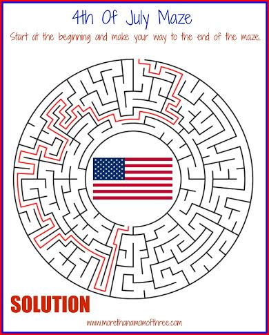 4th of july maze activity sheet