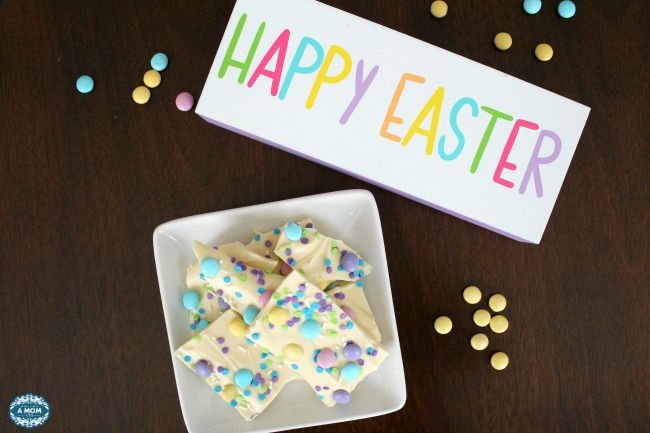 The Easiest Easter White Chocolate Bark with M&M's