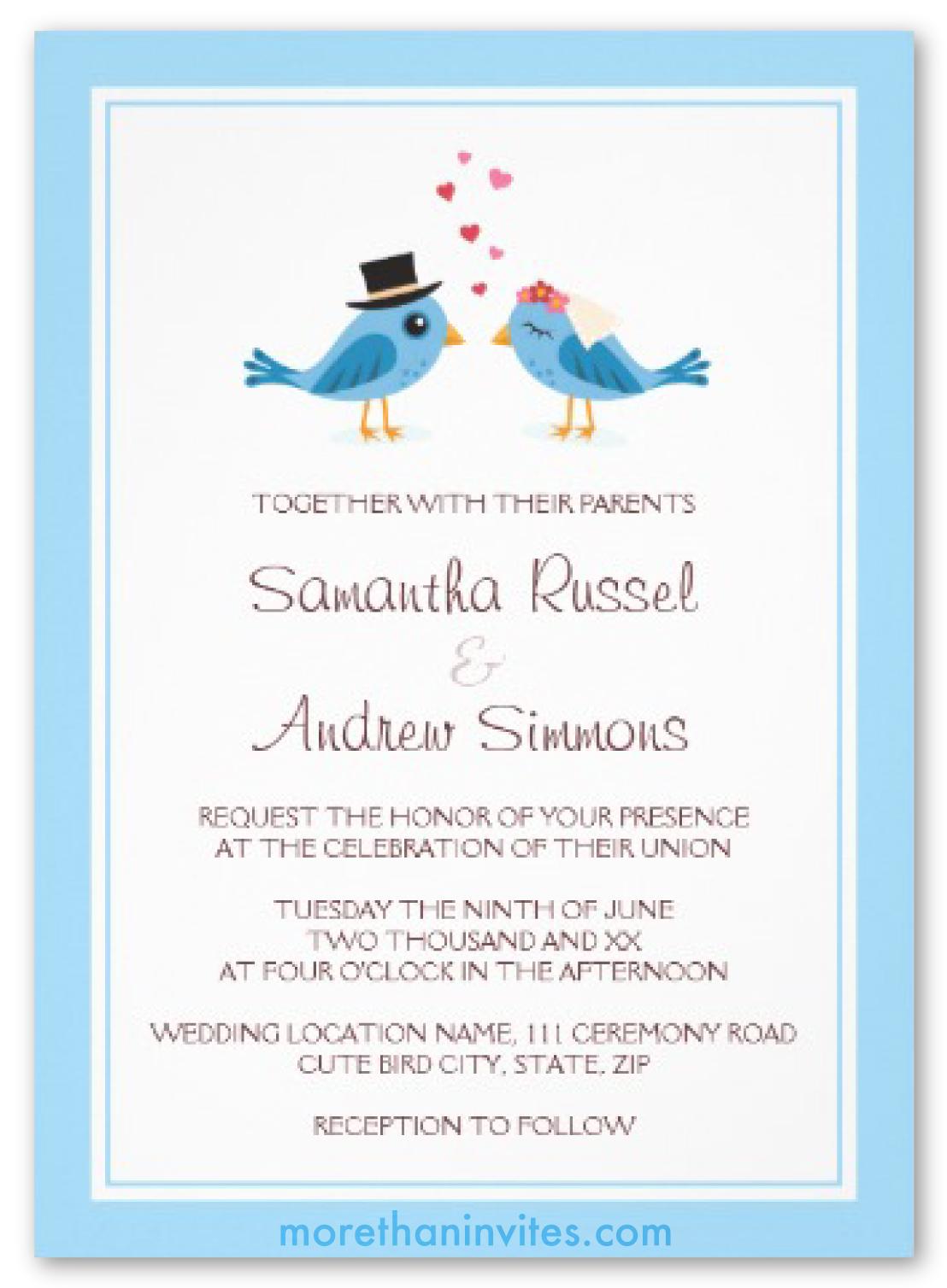 Cute Blue Bird Bride And Groom Wedding Invitation More