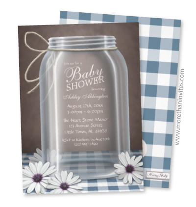 Country Mason Jar And Blue Gingham Pattern Baby Shower