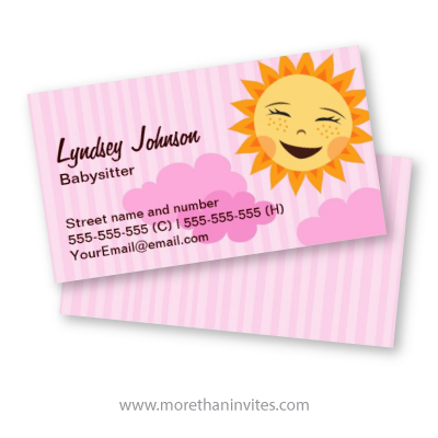 Pink Babysitting Business Card With Cute Cartoon Sun