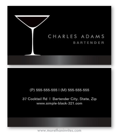 Elegant Bar Or Bartender Business Cards With Martini