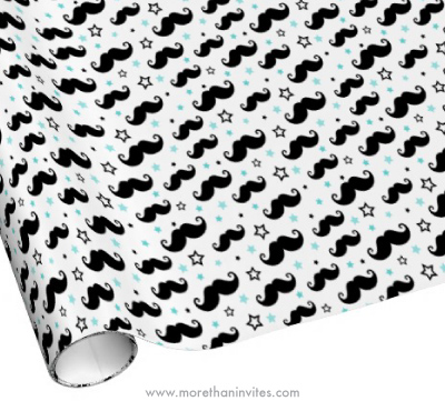 Mustache And Aqua Blue Star Pattern Wrapping Paper More