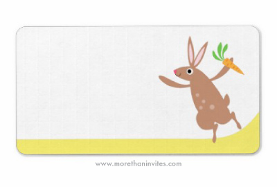 Cute Blank Easter Label With Happy Bunny Rabbit Holding A