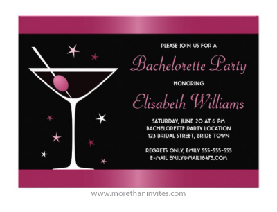 Elegant Fuchsia And Black Bachelorette Party Invitation